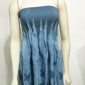 Lapis Dresses - Lapis Anthropologie Blue Embroider Strapless Dress